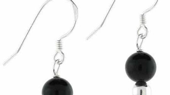 Sterling Silver Black Bead Earrings