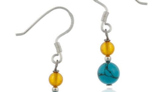Sterling Silver Turquoise & Amber Beads Dangle Earrings