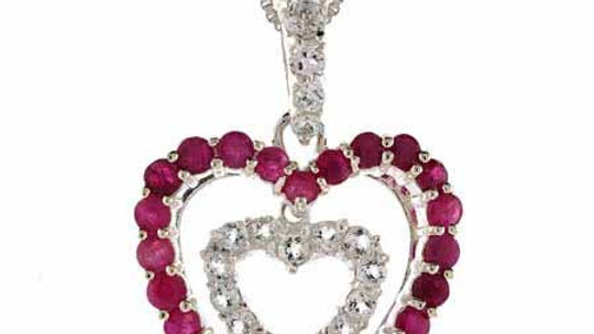Sterling Silver Ruby & CZ Heart within a Heart Pendant
