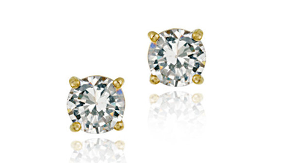 18K Gold Over Sterling Silver 7mm Round CZ Stud Earrings