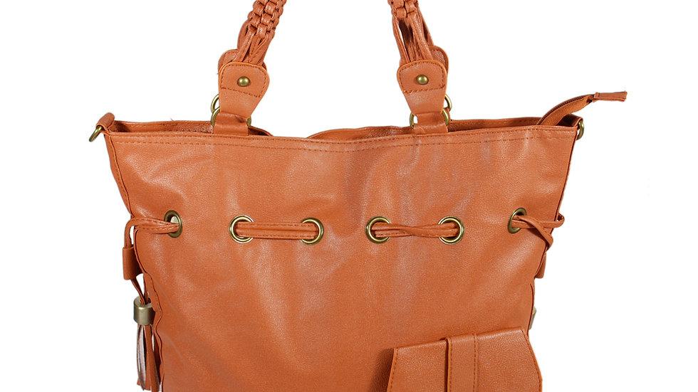 [Romantic Trip] Tan Leatherette Satchel Bag w/Tassels