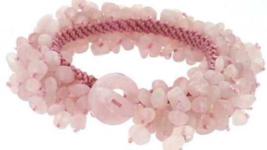 Rose Quartz Chip Confetti Toggle Bracelet