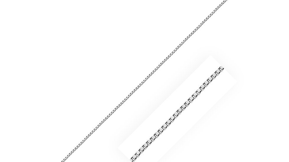 Sterling Silver Rhodium Plated Box Chain 0.7mm