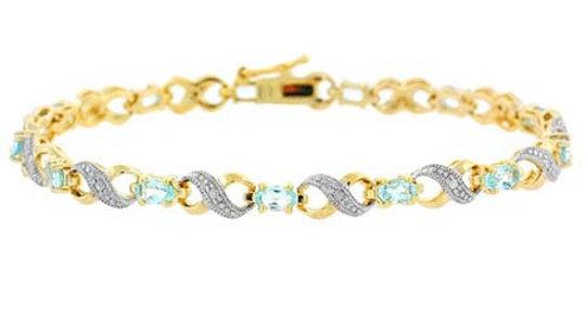 18K Gold over Sterling Silver Blue Topaz & Diamond Accent Infinity Bracelet