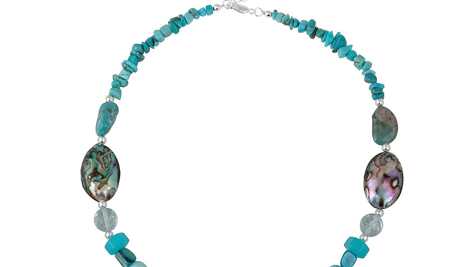 Sterling Abalone, Pearl, Created Turquoise Chips & Nuggets Fashion Necklace