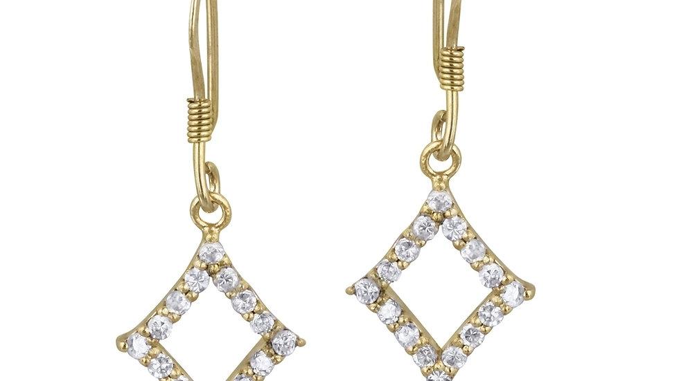 18K Gold over Sterling Silver CZ Diamond Shape Dangle Earrings