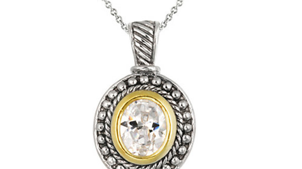Sterling Silver Two Tone Designer Inspired CZ Oval Pendant w/ Beaded Border