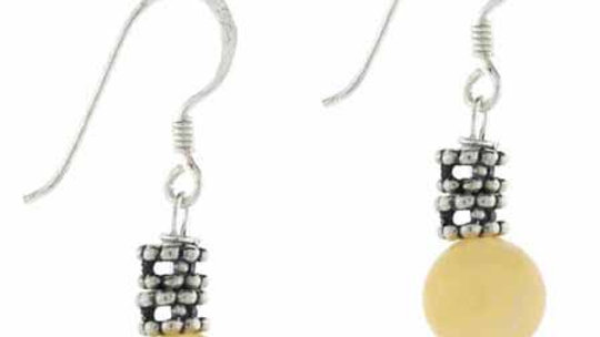 Sterling Silver Aragonite Bali Bead Dangle Earrings