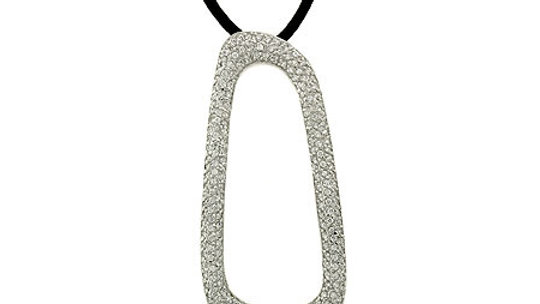 Modern Sterling Silver Leather Simulated Diamond cz Pendant Necklace 18""
