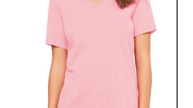 Bella 6405 Ladies Relaxed Jersey Short-Sleeve V-Neck Tee - Pink; Small