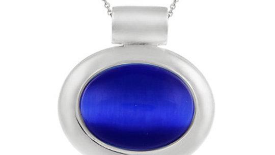 Sterling Silver Bold polished Dark Blue Cats Eye Slide/Pendant