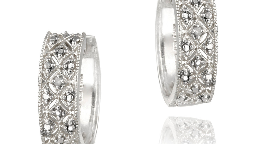 Sterling Silver Diamond Accent Pave Hoop Earrings