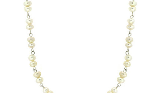 Sterling Silver Freshwater Cultured White Pearl Link Necklace