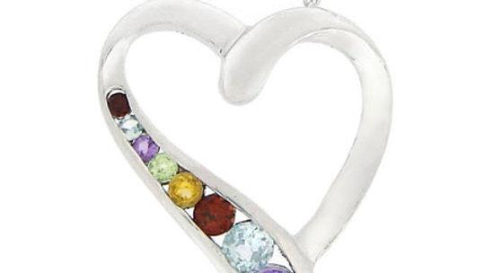 Sterling Silver Open Heart Multi Color Gemstone Journey Pendant