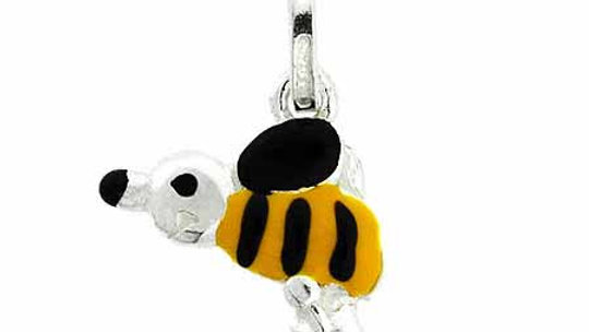 Sterling Silver Enamel Black and Yellow Bee Charm