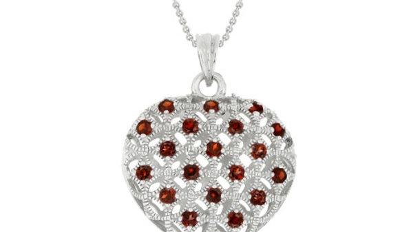Sterling Silver Genuine Garnet Puffed Heart Pendant