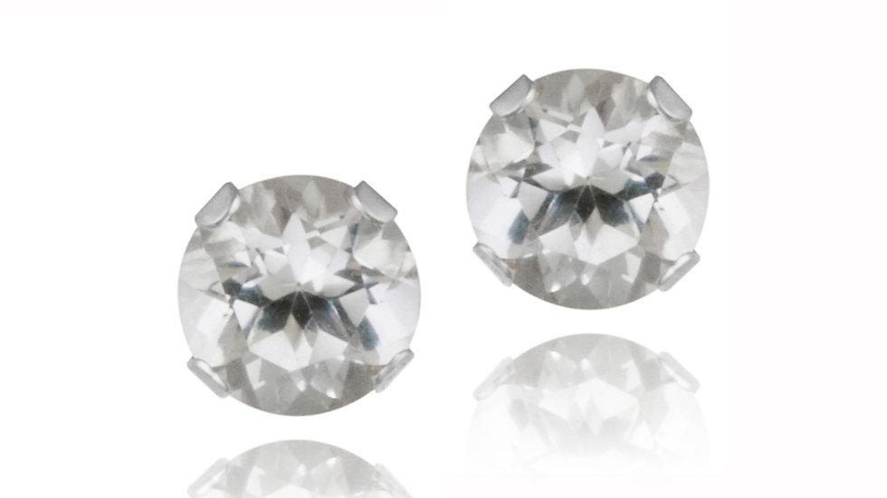 Sterling Silver .70ct Created White Sapphire Stud Earrings, 4mm