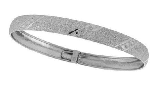 Sterling Silver Polished Satin Diamond Cut Flex Bangle