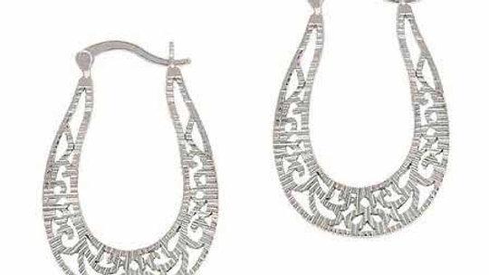 Sterling Silver Vintage Filigree Oval Hoop Earrings