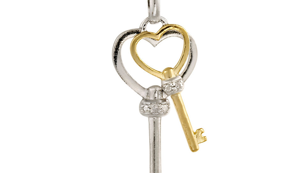 Sterling Silver Two-Tone Diamond Accent Double Heart Key Pendant