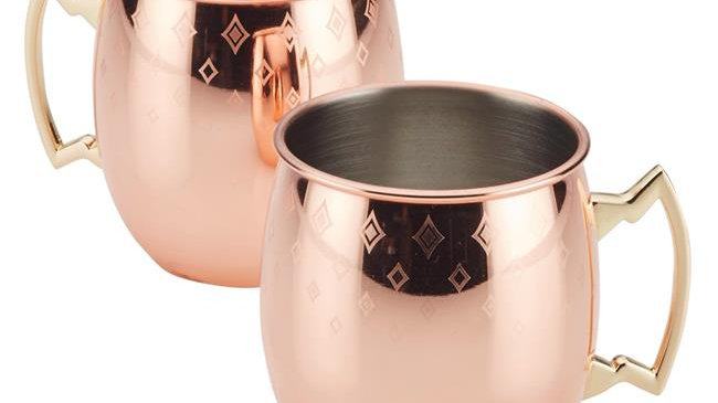 Ayesha Curry 47514 Copper Moscow Mule Mugs with Etched Diamond Pattern; Set of 2