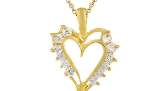 18K Gold over Sterling Silver CZ Open Heart Necklace