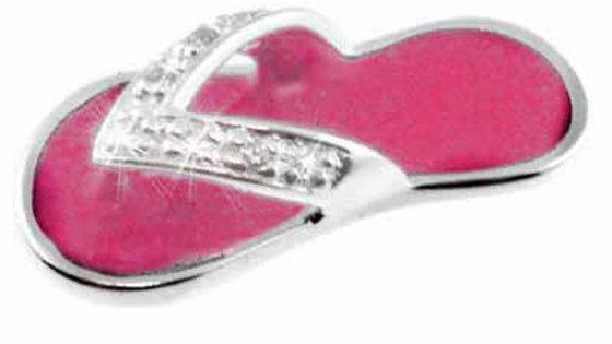 Sterling Silver CZ & Pink Enamel Flip Flop Sandal Celebrity Pendant