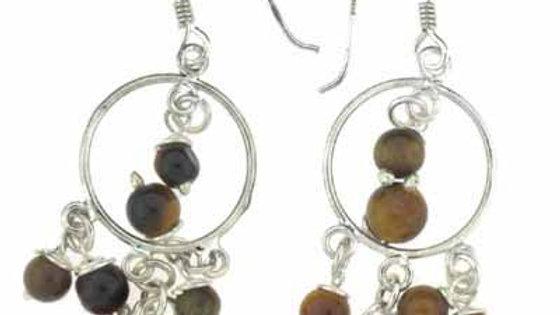Sterling Silver Tiger Eye Beads Chandelier Earrings