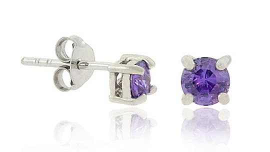 Sterling Silver .925 4mm Simulated Amethyst cz Stone Small Stud Earrings