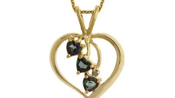 18K Gold over Sterling Silver Mystic Topaz Three Stone Heart Pendant