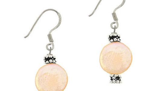 Sterling Silver Peach Freshwater Cultured Coin Pearl & Bali Bead Dangle Earrings