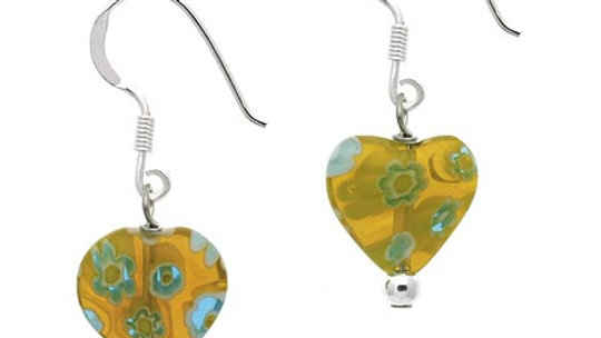 Sterling Silver Yellow Millefiori Murano Glass Heart Dangle Earrings