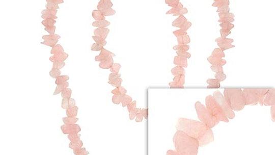 "Genuine Rose Quartz Stone Chip One Strand Layer Necklace 32"""