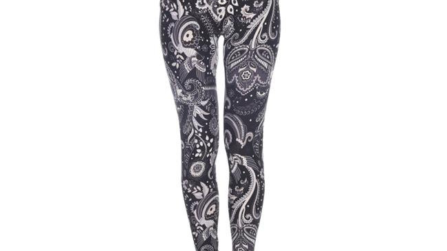 White Mark Womens Printed Leggings; Black & White Paisley - One Size Fits Most