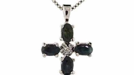 Sterling Silver Sapphire & Diamond Accent Cross Pendant
