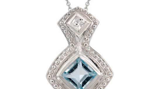 Sterling Silver Deisgner Genuine Blue Topaz Diamond shaped Pendant