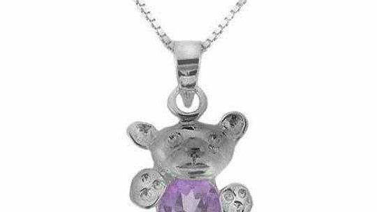 Sterling Silver Genuine Amethyst Stone Teddy Bear Pendant