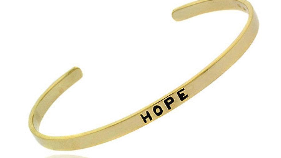 18K Gold over Sterling Silver Hope Bangle Bracelet
