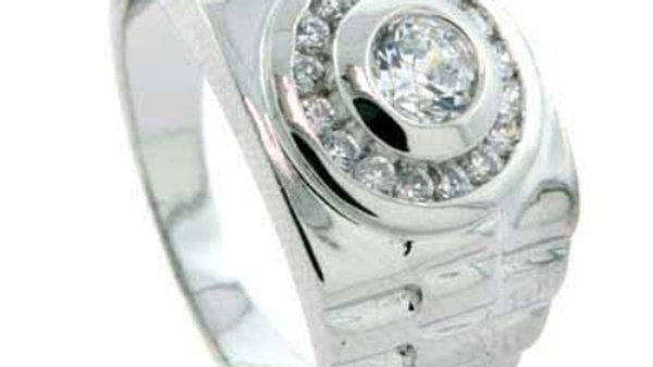 Men's Designer Inspired Band Sterling Silver Ring with Simulated Diamond CZ