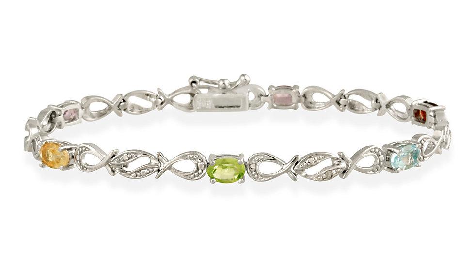Sterling Silver Multi Gemstone & Diamond Accent Swirl Infinity Bracelet