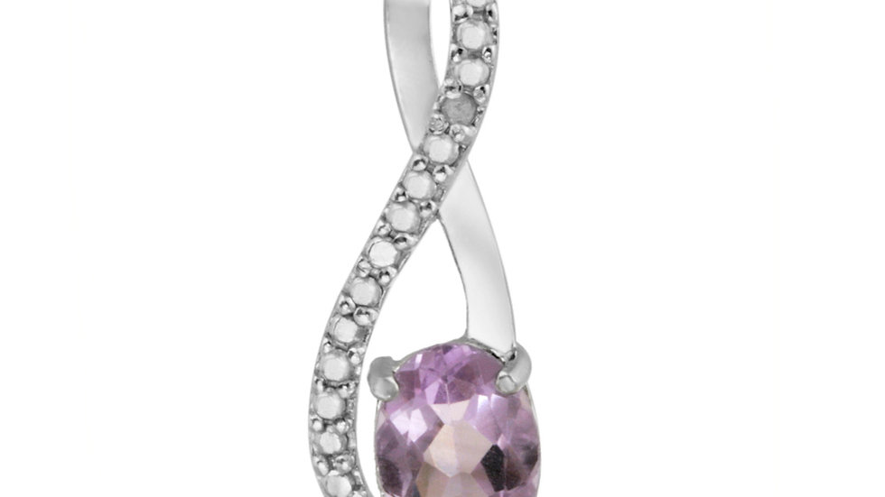 Sterling Silver Amethyst & Diamond Accent Twist Pendant