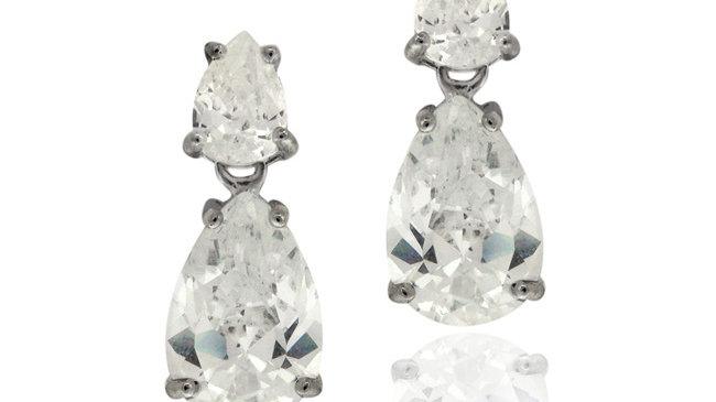 Black Rhodium Overlay Sterling Silver CZ Double Teardrop Dangle Earrings