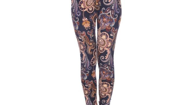 White Mark Womens Printed Leggings; Purple & Gold Paisley - One Size Fits Most