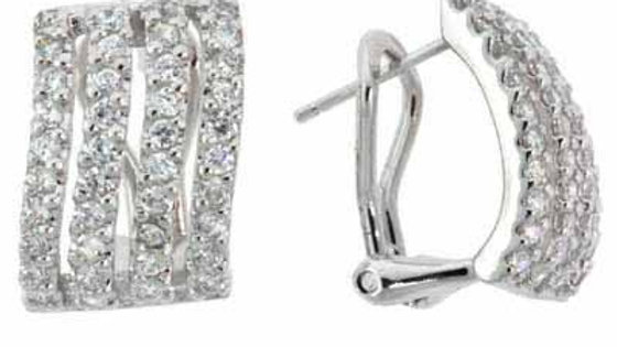 Sterling Silver CZ Rectangle Wave Earrings