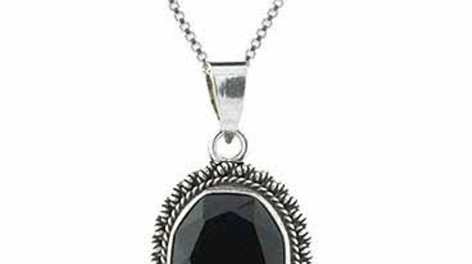 Sterling Silver Faceted Onyx Bali Bead Oval Pendant