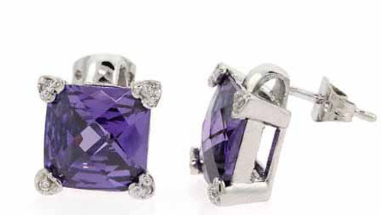 Sterling Silver Simulated Diamond and Amethyst cz Square Heart Earrings