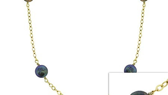 18K G over Silver Freshwater Cultured Green & Black Coin Pearl Necklace, 30 in