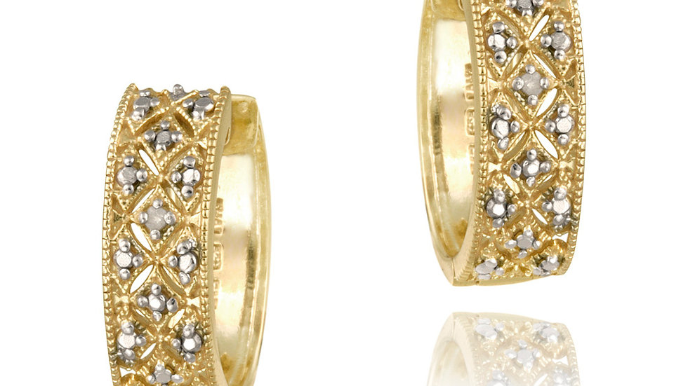 18K Gold over Sterling Silver Diamond Accent Pave Hoop Earrings