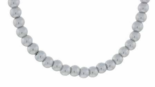 """Sterling Silver 6mm Simulated Gray Pearl Stone Bead Beaded Chain 15-19"""" Necklace"""