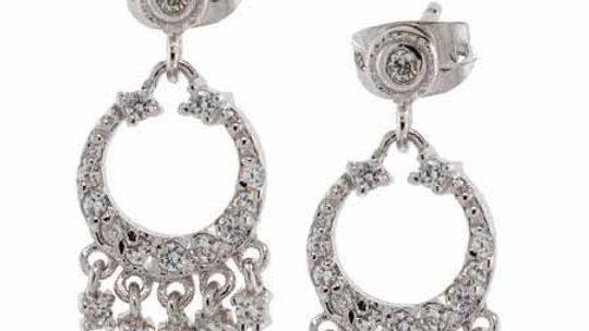 Sterling Silver CZ Mini Chandelier Earrings